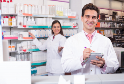 pharmacist at drugstore ready to help